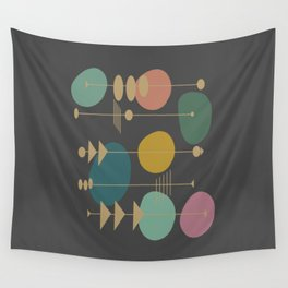 Mid Century Modern Atomic in Grey Wall Tapestry