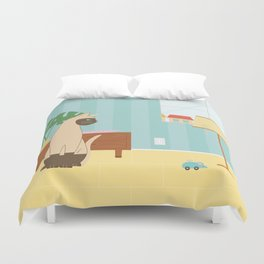 Siamese Cat And Mouse Duvet Cover