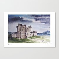 outlander Canvas Prints featuring Doune Castle, Perthshire, Scotland. Outlander. Monty Python. Version 2 (text title) by JVB 2014