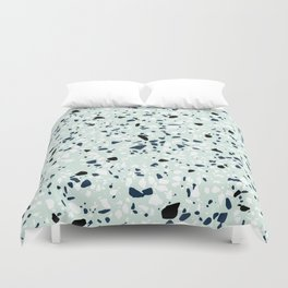 'Speckle Party' Navy Mint Black White Dots Speckle Terrazzo Pattern Duvet Cover