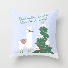 Fa la la la ma Christmas Llama Throw Pillow