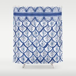 Moroccan Ceramic Tiles - Cobalt Blue Shower Curtain