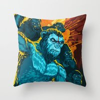 planet of the apes Throw Pillows featuring Dawn Of The Planet Of The Apes by KD Artwork