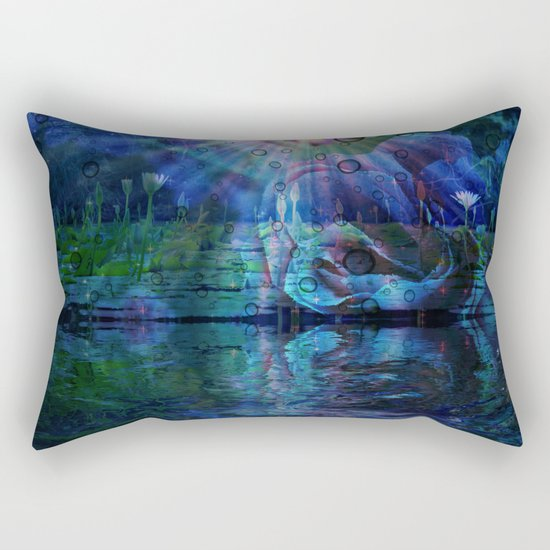 Beneath true light the magic shows and sighs quite softly as it grows Rectangular Pillow
