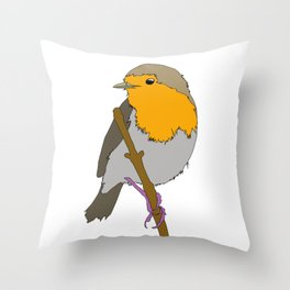 Cartoon Robin Throw Pillow