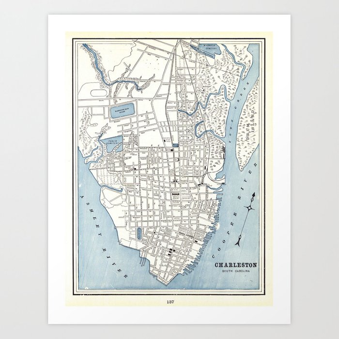 photo relating to Printable Map of South Carolina named Basic Map of Charleston South Carolina (1898) Artwork Print by means of bravuramedia