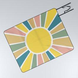 Retro Sunshine Picnic Blanket