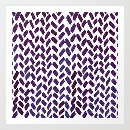 Cute watercolor knitting pattern - puple Art Print