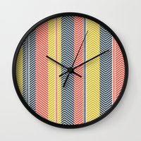 mid century Wall Clocks featuring Mid Century Herringbone 2 by David Andrew Sussman