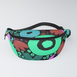 Bold Abstract Floral Inspired Pattern (Red, Teal, Green, Blue, Fuchsia) Fanny Pack