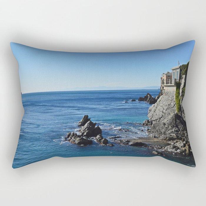 Amazing sea landcape from Genova , Italy Rectangular Pillow