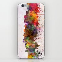 oakland iPhone & iPod Skins featuring Oakland skyline in watercolor background by Paulrommer