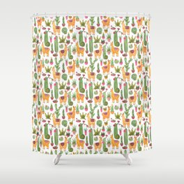 watercolor alpaca clique with cacti and succulents Shower Curtain
