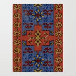 Folk ancient carpet of the Caucasus Poster