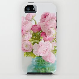 Dreamy Shabby Chic Ranunculus Peonies Roses Print - Spring Summer Garden Flowers Mason Jar iPhone Case