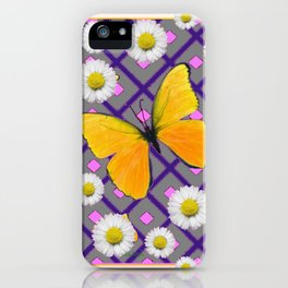 Yellow Butterfly on Lilac-pink Shasta Daisy Grey Abstract Pattern iPhone Case