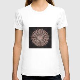 Black and Coral Mandala Design T-shirt