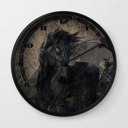 Gothic Friesian Horse Wall Clock