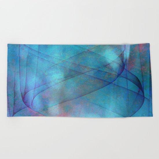 Blue tornado with fairy lights Beach Towel