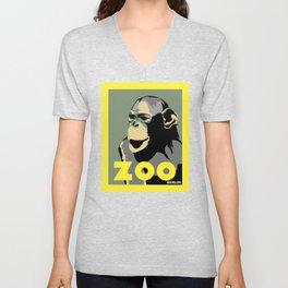 Retro Zoo Berlin monkey travel advertising Unisex V-Neck