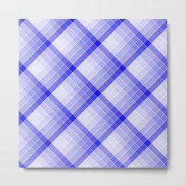 Navy Blue Geometric Squares Diagonal Check Tablecloth Metal Print
