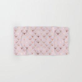 Art deco illustration pattern with rose gold decorative flowers shapes. Abstract geometric crisscross. Golden pink luxury illustration. Vintage Art nouveau. Hand & Bath Towel