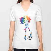mlp V-neck T-shirts featuring MLP - Rainbow Dash by Choco-Minto
