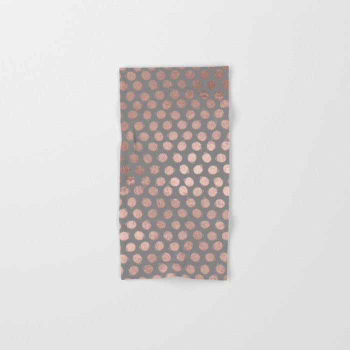 Simple Hand Painted Rosegold polkadots on grey background Hand & Bath Towel