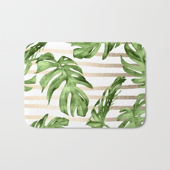 Simply Tropical White Gold Sands Stripes and Palm Leaves Bath Mat