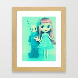 bunnies in blue Framed Art Print