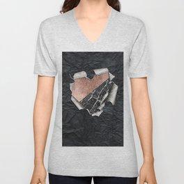 Modern Torn Paper Heart and Rose Gold Marble Unisex V-Neck