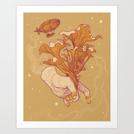 Chanterelles and Zeppelin Art Print