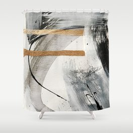 Armor [7]: a bold minimal abstract mixed media piece in gold, black and white Shower Curtain