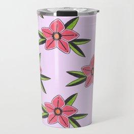 Old school tattoo flower pattern in lilac Travel Mug