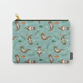 Kawaii Otters Playing Underwater Carry-All Pouch