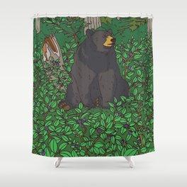 Black Bear & Huckleberry Shower Curtain