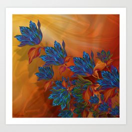 """Blue flowers on orange silk"" (Air Spring at night) Art Print"
