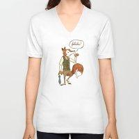 mr fox V-neck T-shirts featuring Mr. Fox by Drew Brockington