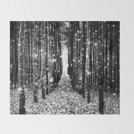 Magical Forest Black White Gray Throw Blanket