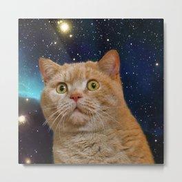 Cat staring at the universe Metal Print