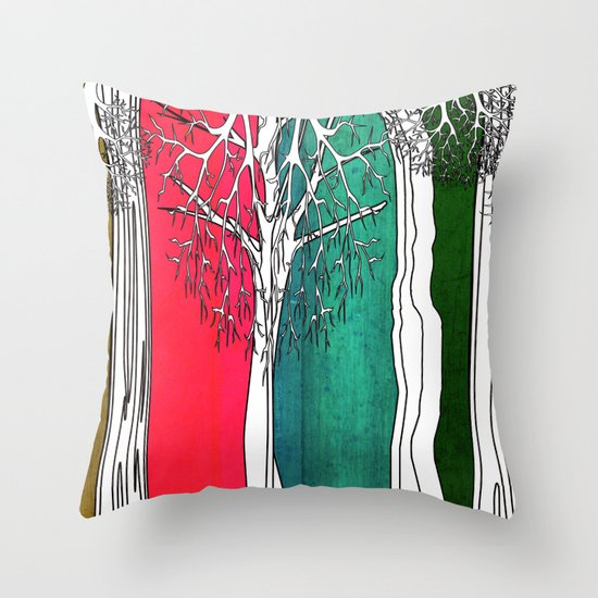 Color Forest Throw Pillow