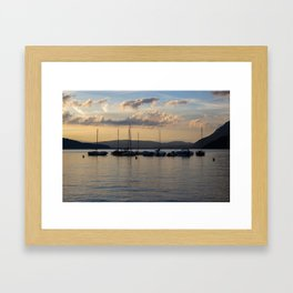 Sunset Annecy Boats Framed Art Print