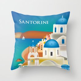Santorini, Greece - Skyline Illustration by Loose Petals Throw Pillow