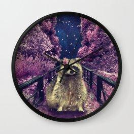 Cherry raccoon Wall Clock