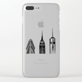 New York City Iconic Buildings-Empire State, Flatiron, One World Trade Clear iPhone Case