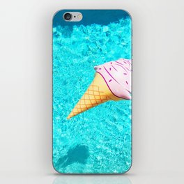 pink ice cream cone float all up in my pool yo iPhone Skin