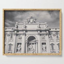 Trevi Fountain, black & white photography of Rome, fine art architecture, italian architectural love Serving Tray