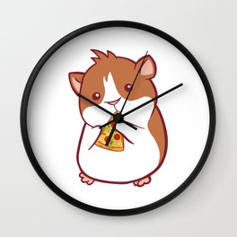 Snack Lovers Pepperoni Cheese Collection T-shirt Design Hamster Rodent Hawaiian Tomato Sauce Pizza Wall Clock