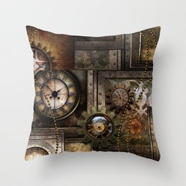 Steampunk, wonderful clockwork with gears Throw Pillow