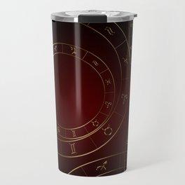 Zodiac circles and signs black and red Travel Mug